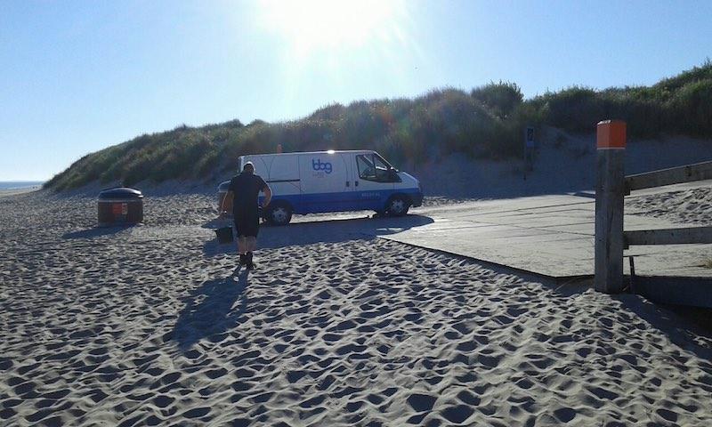 BBG beregening busje op strand